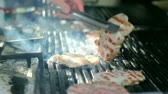 meal : Commercial kitchen grill. Grilling meat on a barbecue grill. HD 1080i.