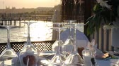 ribbon : Romantic Table Setting on the Beach at Sunset