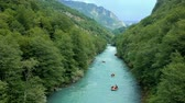heyecan verici : Aerial Shot of People White Water Rafting on River