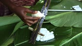 dish photo : South Pacific spinach from bamboo Stock Footage