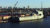 yerleşim : Military Ship docked in Sydney Australia Stok Video