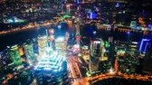 skyline : Aerial view of Shanghai Pudong at night from the observatory of Shanghai World Financial Center (SWFC). Many skyscrapers,including Jin Mao Tower (one of Chinas tallest buildings) and Oriental Pearl Tower.time lapse. Original Size 4k. Stock Footage