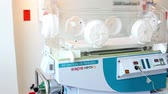 habilidade : Mexico, 2014: FULL SHOT-PAN RIGHT. Incubators in a neonatology room. Mexico has a big challenge about health care due the demand of better hospitals and medical attention.