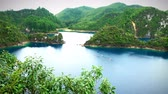Chiapas, Mexico: Stunning panoramic view of Cinco Lagos Lagoon in the national park Montebello Lagoons. This place is one of the most beautiful attractive touristic in Chiapas. TAKE 2 Stok Video