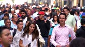 health awareness : Mexico City, CIRCA June 2018 SLOW MOTION-TAKE 10: Crowd walking through street. In Mexico the population growing is a public problem due the high birth rates. Stock Footage