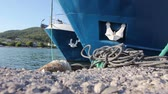 lined up : Docked two large fishing ships tied with rope to the moor at the local port. Stock Footage