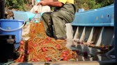 bója : Fisherman is empty fish from net in his small boat. Fisher in rubber trousers and boot is sitting in his boat and pile up fishing net for angling at open sea. H.264 video codec Stock mozgókép