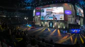 cybersport : MOSCOW, RUSSIA - OCTOBER 27 2018: EPICENTER Counter Strike: Global Offensive esports event. Main stage, big screen with game moments and audience stands full of fans cheering for their teams.