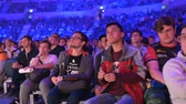 competitivo : MOSCOW, RUSSIA - 14th SEPTEMBER 2019: esports Counter-Strike: Global Offensive event. Video games fans showing their love and cheering for their favorite team during the match.
