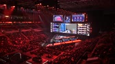 competitivo : MOSCOW, RUSSIA - 14th SEPTEMBER 2019: esports Counter-Strike: Global Offensive event. Main stage, lightning, illumination, big screen with game moments from overlooking spot at the top.