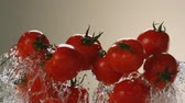 Flying tomatoes on a background of water. Very beautiful studio shot. Slow motion.