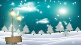 Merry Christmas - Animated Christmas card with snowflakes and snowflakes falling. Wideo