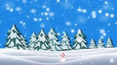 kardan adam : Christmas animation of snowman moving through winter landscape in magical forest against falling snowflakes on background. Snow falling over snow covered landscape with snowing trees in 4K. Stok Video