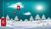 kardan adam : Magic Merry Christmas. Moon in clouds, stars and snowfall. Silhouette of woods on moon background over winter landscape. Christmas Animation in Beautiful Winter Snowy Landscape.