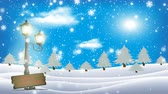 glacé : Christmas background with motion glittering motion graphics. Particles snowflakes and shine lights in frozen snowy landscape.