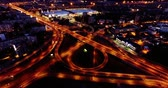 4K - Aerial view. Night city traffic