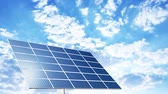 fuel and power generation : Solar panels with blue sunny sky