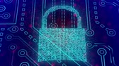 cadeado : Cyber security digital padlock concept Stock Footage