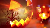 sopa : Halloween background with pumpkin and bats Stok Video