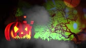 morcego : Happy Halloween haunted pumpkin and flying bats Stock Footage