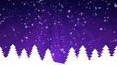 wintertime : Winter background with snowflakes and snowy fir trees