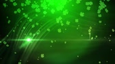 celta : St. Patrick green lucky clover background Stock Footage