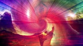 karma : Woman silhouette  karma yoga background