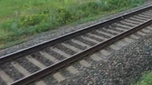 wagons : Railway liner close-up from a window of a passenger train. Stock Footage