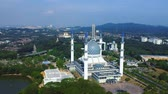 Aerial footage of Sultan Salahuddin Abdul Aziz Mosque located in Shah Alam Malaysia.