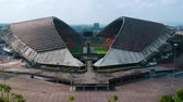 Kuala Lumpur, Malaysia - January 31, 2018: Aerial footage of Shah Alam Stadium. The stadium is a multi-purpose stadium located in Shah Alam, Selangor, Malaysia. It is used mostly for football matches but also has facilities for athletics.