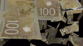 transparente : Falling Canadian dollar animation Video Effect simulates Falling 100 Canadian dollar banknotes with alpha channel in 4k resolution Stock Footage
