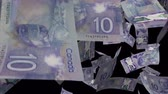 kanál : Falling Canadian dollar animation Video Effect simulates Falling 10 Canadian dollar banknotes with alpha channel in 4k resolution