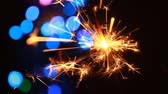fajerwerki : sparkler and bokeh lights background Wideo