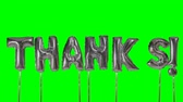 благодарность : Word thanks from helium silver balloon letters floating on green screen