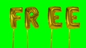 helyum : Word free from helium golden balloon letters floating on green screen