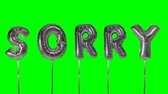 desolé : Word sorry from helium silver balloon letters floating on green screen