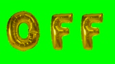 éteindre : Word off from helium gold balloon letters floating on green screen