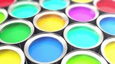 estanho : Cans paint, group of tin metal cans with color paint dye, loop-able. 3d animation