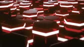 objem : Abstract red of futuristic surface hexagon pattern with light rays. 3D Rendering 4k animation Dostupné videozáznamy