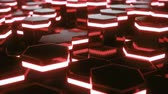 volume light : Abstract red of futuristic surface hexagon pattern with light rays. 3D Rendering 4k animation Stock Footage