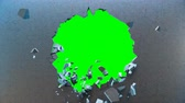 blokken : Concrete wall flying into small pieces. Cracked earth. Slow motion effect. Explosion, destruction, broken, concrete wall. Isolated on green background, 4K 3D animation on a green background