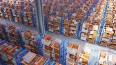 тележка : Warehouse with cardboard boxes inside on pallets racks, logistic center. Huge, large modern warehouse. Warehouse filled with cardboard boxes on shelves. Top view of the entire warehouse 3D animation