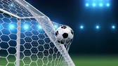 trest : Soccer ball flies beautifully into the goal in slow motion. Soccer ball flies into the goal bending the grid on flares background, ball rotating in slow motion. Moment delight football 3d 4k animation