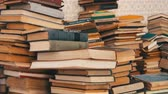 vintage : Stack of Books Scattered on the Floor in the Library Stock Footage