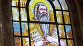pew : Stained-glass Window with a Picture of Icon Lord God in the Christian Church