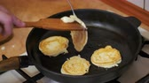 panquecas : Making Pancake, Crepes, Flapjack on Frying Pan in a Home Kitchen