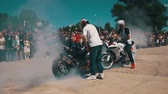 quadrilha : Stunt Moto Show. Extreme Motorsports. Bikers Parade And Show. Slow Motion