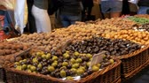 dessert : Large Counter of Sweets with Chocolate Candy in La Boqueria Market in Barcelona. Spain