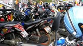 lambreta : Motorbike on the Parking in Thailand near the Shopping Center Stock Footage