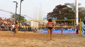 momento : Womens Beach Volleyball Championship in Thailand Stock Footage